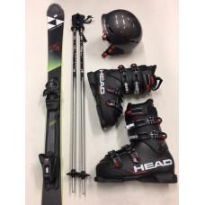 PREMIUM Ski + Schuhe + Stöcke + Helm