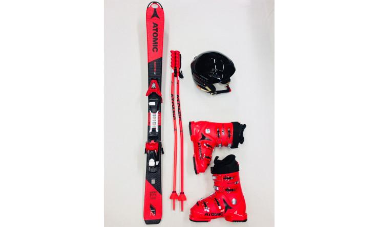 Ski + Schuhe + Stöcke + Helm (Skilänge 111 cm bis 150 cm)
